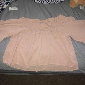 Pink off the shoulder long sleeve